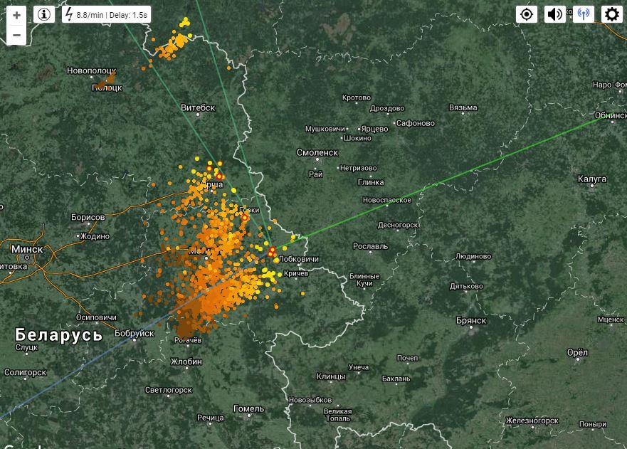 Фото с сайта http://www.lightningmaps.org/, 9.45