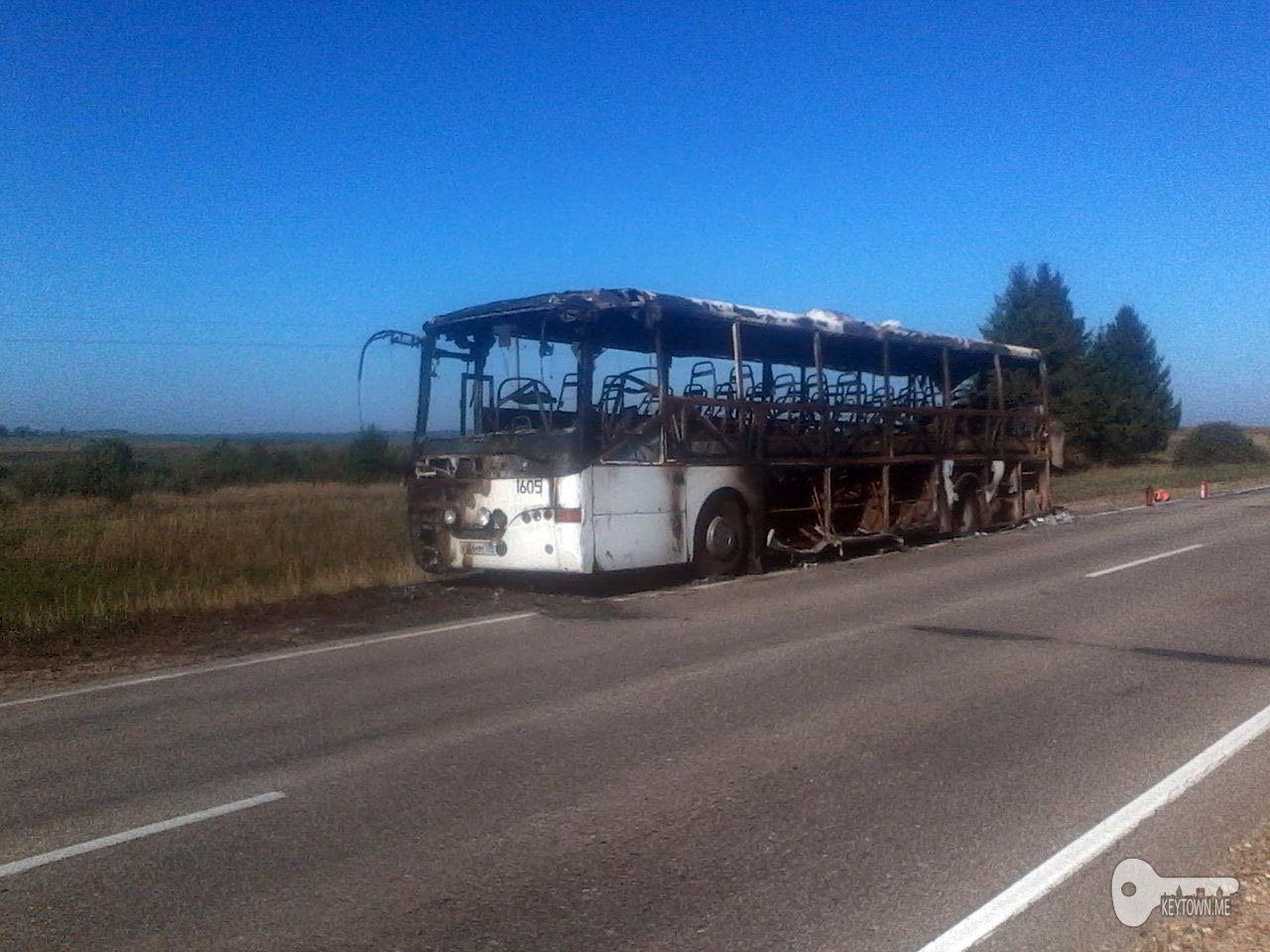 В Смоленской области загорелся пассажирский автобус