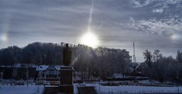 Паргелий, ложное солнце, сегодня в Смоленске на набережной