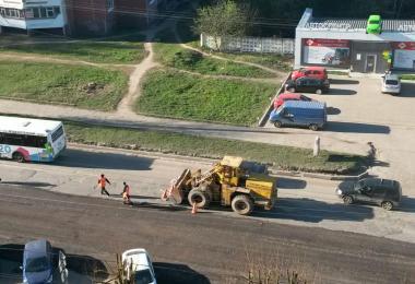 ремонт дороги, Краснинское шоссе