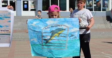 пикет против передвижных дельфинариев