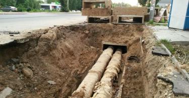 ремонт тепломагистрали, Краснинское шоссе, Квадра